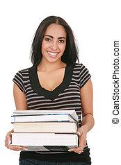 Casual Dressed Hispanic Female Student Holding Stack of Books