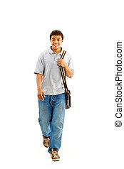 Happy Casual Dressed Young Black College Student Isolated on...