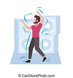 happy casual man dancing male dancer enjoying dance party guy having fun hi-fi audio speakers background flat full length