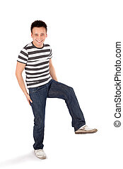 Happy Casual Man Standing on One Leg