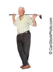 Happy casual mature golfer