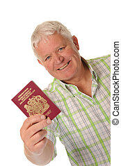 Happy casual mature man with passport