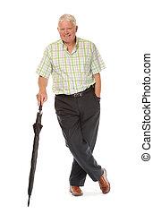 Happy casual mature man with umbrella