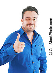 Happy casual young man showing thumb up and smiling isolated...