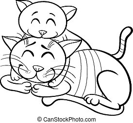 Coloring book of cute red kitten with bow. Vector illustration cute ...