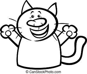 happy cat cartoon coloring page