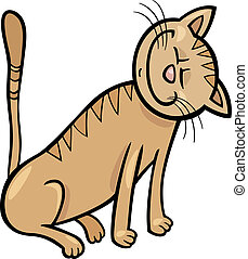 happy cat cartoon illustration - Cartoon Illustration of...