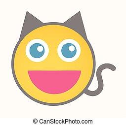 Happy Cat - Cartoon Smiley Vector