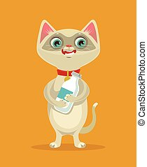 Happy cat character hold milk bottle. Vector flat cartoon illustration