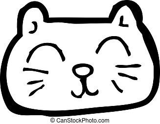 happy cat face cartoon