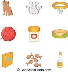 Happy cat icons set, cartoon style