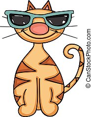 Happy cat with glasses of sun