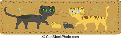 Happy cats family