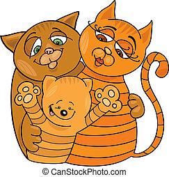 happy cats family - Cartoon illustration of happy cats...
