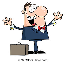 Happy Caucasian Businessman Holding His Arms Up By A Briefcase