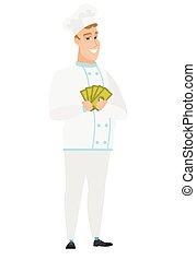 Happy caucasian chef cook holding money.