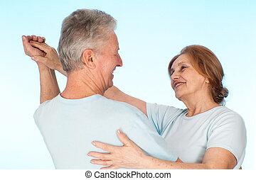 Happy Caucasian elderly people together