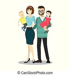 Happy caucasian family.