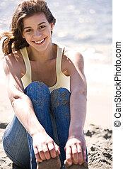 Happy caucasian girl