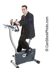 Happy Caucasian Man Suit on Exercise Bike Isolated White Background