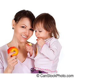 Happy Caucasian mother with her daughter