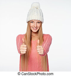 Happy caucasian woman giving you double thumb up