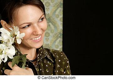 Happy Caucasian woman sitting