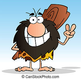 Happy Caveman - Caveman Gesturing The Peace Sign With His ...