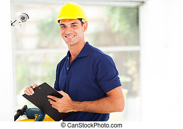 happy cctv camera technician after installation