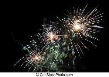 happy celebration Firework. Red light in sky