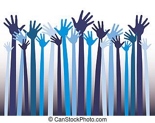 Happy celebration hands.