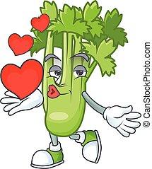 Happy celery plant cartoon character mascot with heart