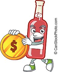 happy champagne red bottle cartoon character with gold coin