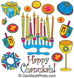 Menorah surrounded by fun and colorful dreidels, coins and presents