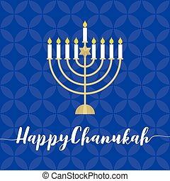 Happy Chanukah calligraphic with menorah,flat design vector with blue blackground
