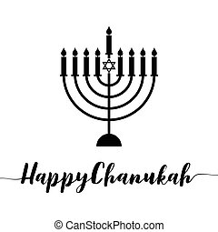 Happy Chanukah calligraphic with menorah, silhouette design vector