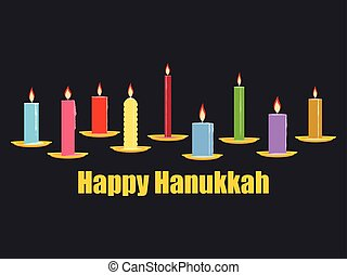 Happy Chanukah. Celebratory background with nine candles,...