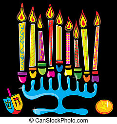Happy Chanukah Menorah - Menorah surrounded by fun and...
