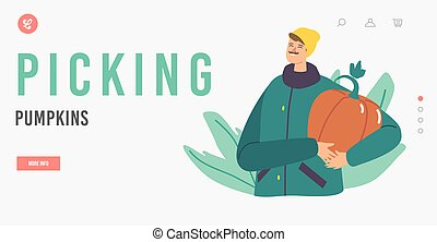 Happy Character Picking Pumpkins at Garden Landing Page Template. Man Holding Huge Ripe Plant in Hands, Harvesting