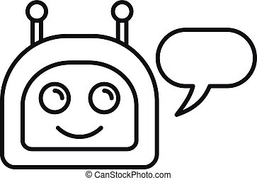Happy chatbot icon, outline style