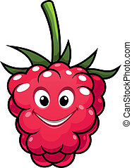 Happy cheeky ripe red cartoon raspberry with a cute grin and green stalk isolated on white