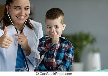 Happy cheerful nurse and child