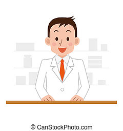 Happy cheerful pharmacist chemist man standing in pharmacy drugstore