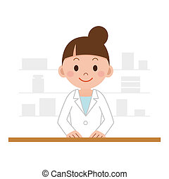 chemist woman standing in pharmacy - Happy cheerful ...