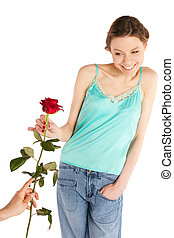 Happy Cheerful Woman on Valentine Day