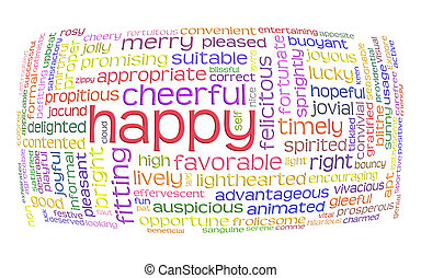 happy cheerful word cloud
