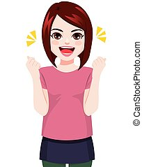 Happy Cheerful Young Woman Smiling