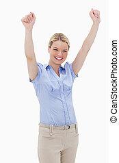 Happy cheering woman