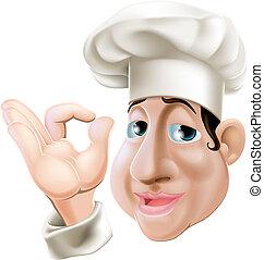 Happy chef doing okay gesture