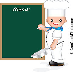 Happy chef (menu) - Happy chef is holding a pan in one hand...